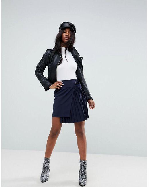 ASOS - Blue Tailored Kilt Skirt With Aysemmetric Wrap - Lyst