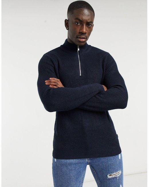 Темно-синий Вязаный Джемпер На Короткой Молнии Burton для него, цвет: Blue