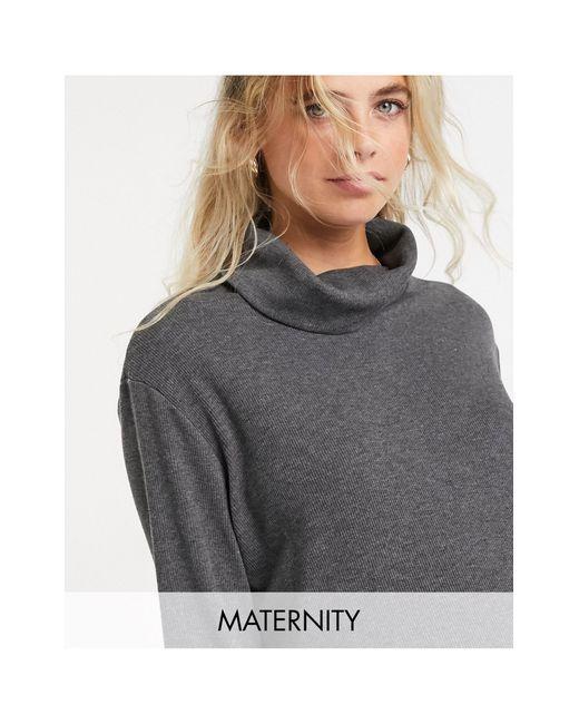 T-shirt col montant à manches longues - foncé Gebe Maternity en coloris Gray