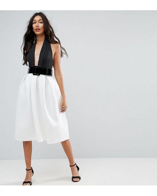 Lyst - Asos Mono Belted Halter Neck Midi Prom Dress in White