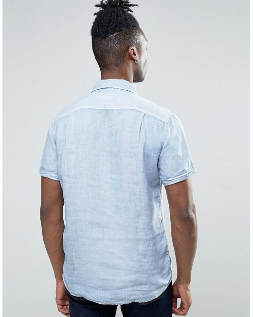 Lyst pepe jeans half placket short sleeve shirt in blue for Denim half sleeve shirt