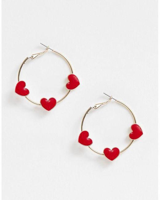 ASOS - Metallic Hoop Earrings With Red Love Hearts In Gold Tone - Lyst