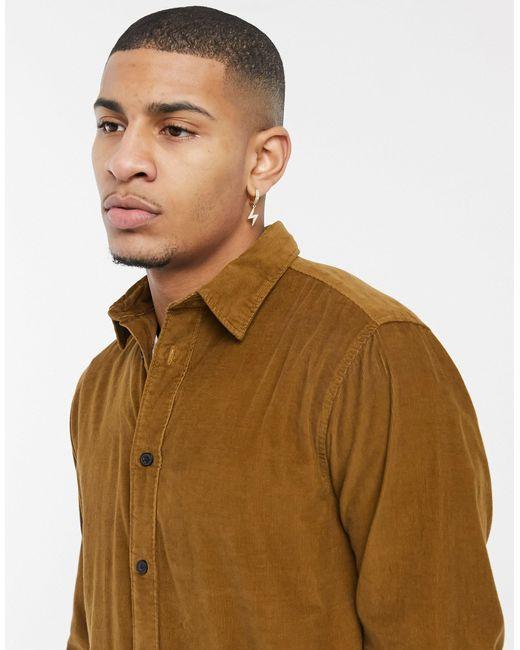 Светло-коричневая Вельветовая Рубашка -коричневый Цвет SELECTED для него, цвет: Brown