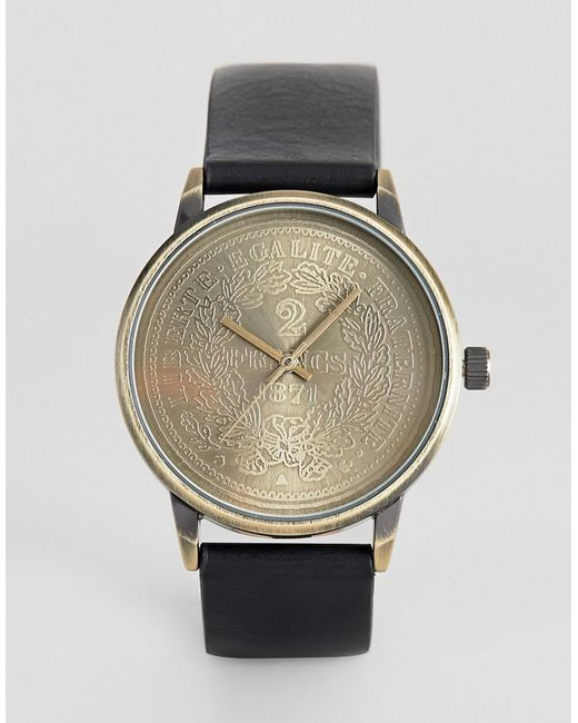 ASOS - Watch With Coin In Black And Burnished Gold for Men - Lyst