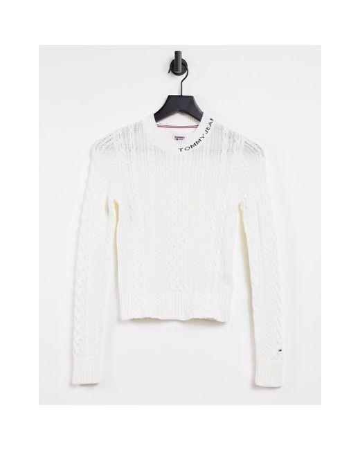 Белый Джемпер Вязкой Косами С Круглым Вырезом Tommy Hilfiger, цвет: White