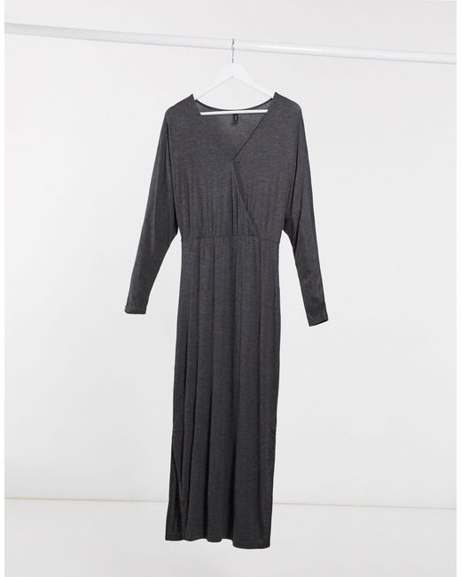 Серое Платье Макси С Запахом -серый Y.A.S, цвет: Gray