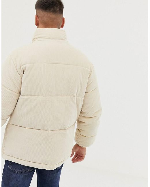 Bershka Denim Cord Puffer Jacket In Beige in Natural for ...
