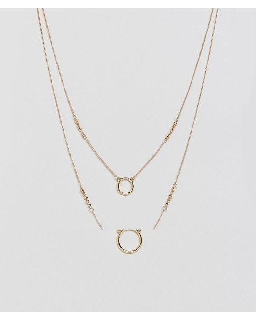 ASOS | Metallic Open Circle Multirow Necklace | Lyst