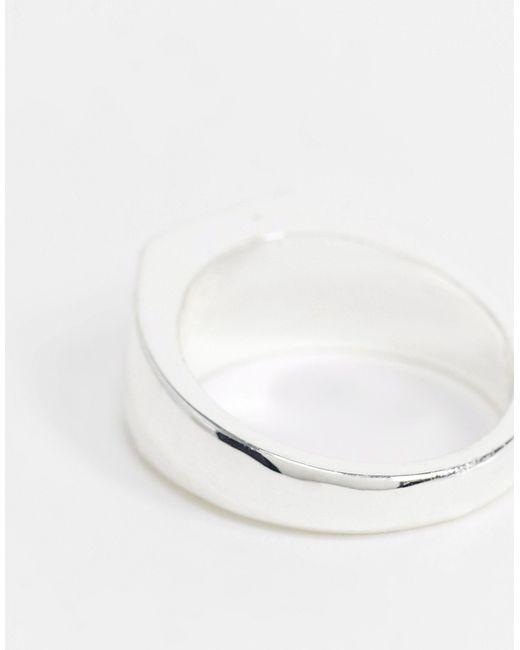 Кольцо-печатка С Изумрудным Камнем -серебряный Bolongaro Trevor для него, цвет: Metallic