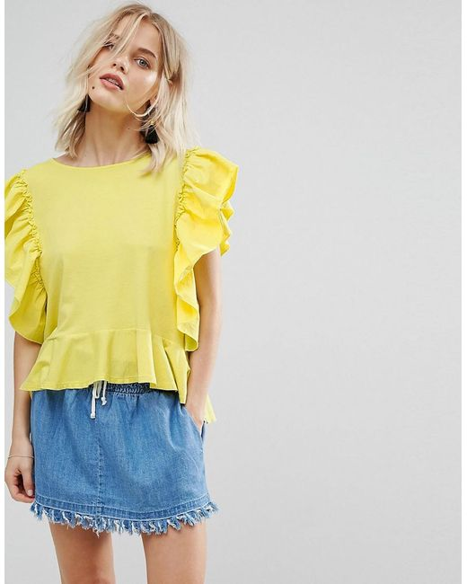 Mango - Yellow Frill Front Jersey Top - Lyst
