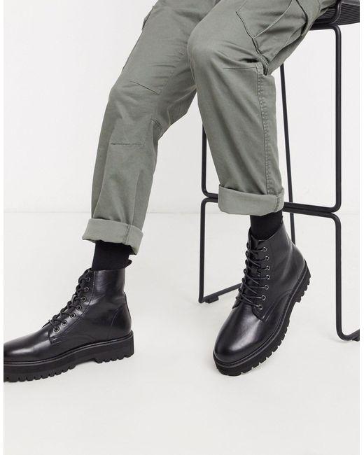 Черные Ботинки Из Искусственной Кожи На Шнуровке И Массивной Подошве ASOS для него, цвет: Black