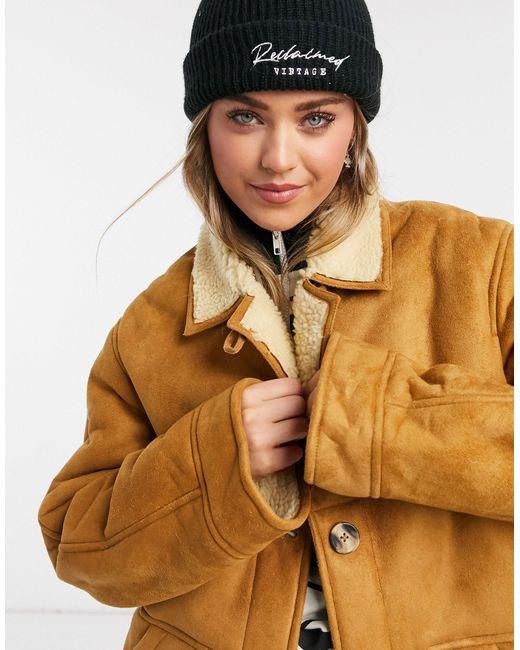 Светло-коричневая Куртка-авиатор Из Овчины -коричневый Reclaimed (vintage), цвет: Brown