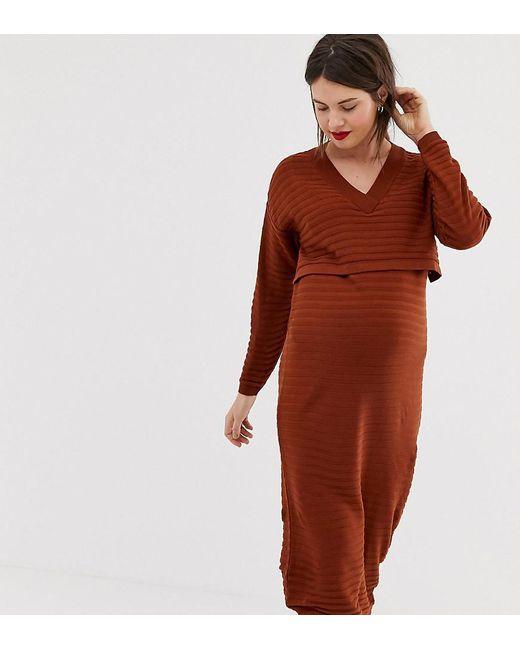 Robe de maternité et d'allaitement mi-longue à grand décolleté en V en fil écolo ASOS en coloris Red