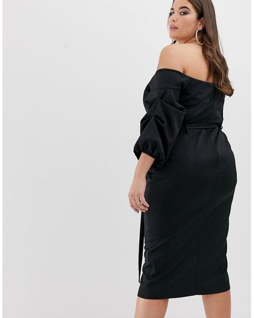 d914e4cd860c ... ASOS - Black Asos Design Curve Bardot Belted Balloon Sleeve Midi Dress  - Lyst