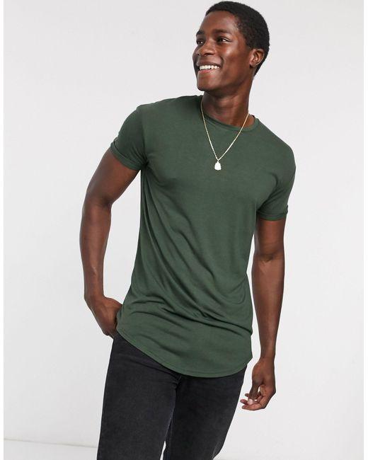 Зеленая Длинная Футболка -зеленый Topman для него, цвет: Green
