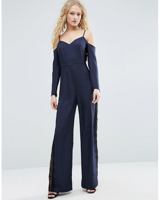 ASOS | Blue Jumpsuit With Cold Shoulder And Lace Side Detail | Lyst