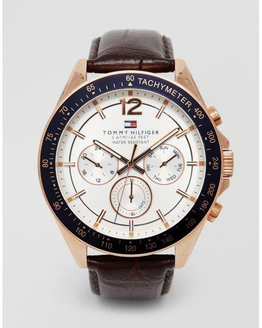 Tommy Hilfiger Brown Luke Leather Strap Watch 1791118 for men