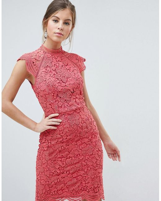 55647ace7c3f Chi Chi London - Pink Scallop Lace Pencil Dress - Lyst ...