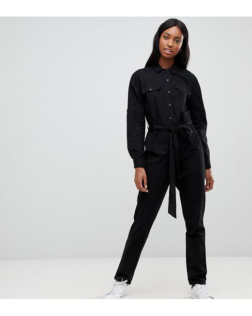 91263f0c67 ASOS - Black Asos Design Tall Washed Cotton Boilersuit - Lyst ...