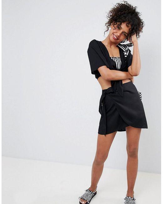 Monki - Tie Side Beach Skirt In Black - Lyst