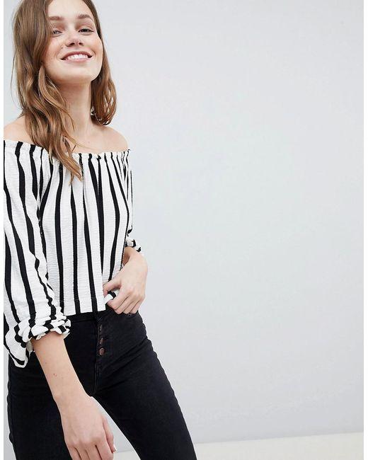 Bershka - Blue Bardot Top In Slim Stripe - Lyst