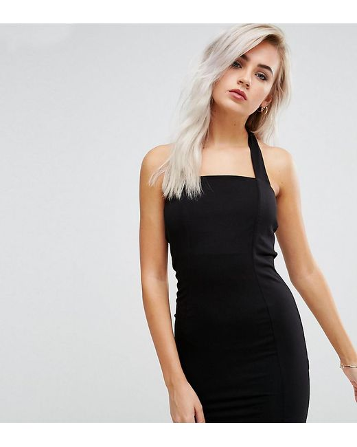 ASOS | Black Mini Square Neck Halter Bodycon Dress | Lyst