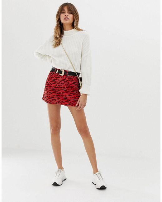 River Island Red Denim Mini Skirt
