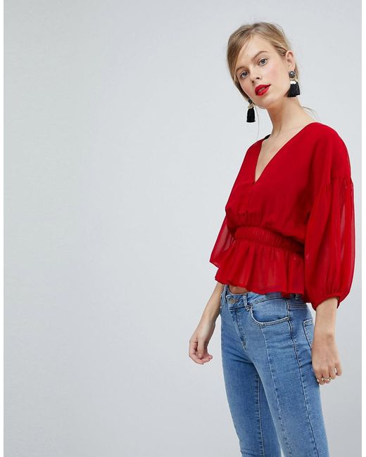 ASOS - Red Design Sheer Waisted Poets Sleeve Blouse - Lyst