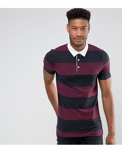 Asos tall muscle block stripe rugby polo for men lyst for Big and tall polo rugby shirts