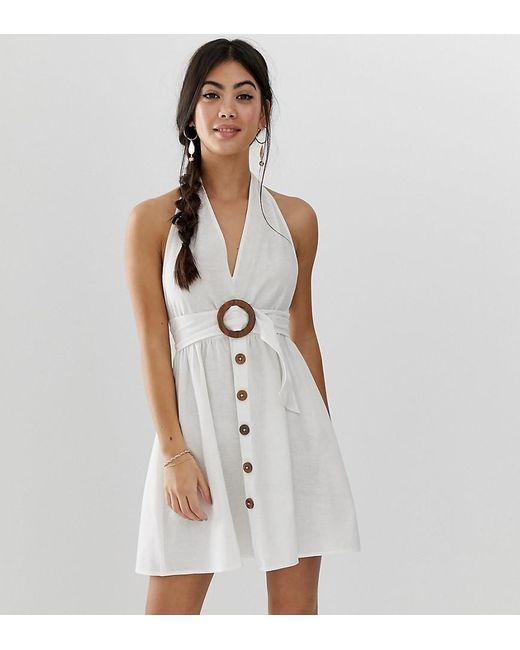 578328d7ff ASOS - White Asos Design Petite Halter Neck Mini Button Through Linen  Sundress With Buckle ...