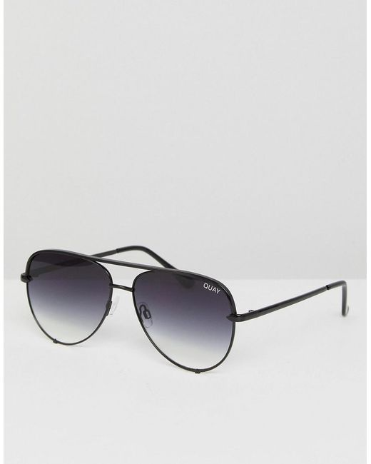 0c21615aa6f6 Quay X Desi High Key Mini Aviator Sunglasses In Black Fade in Black ...