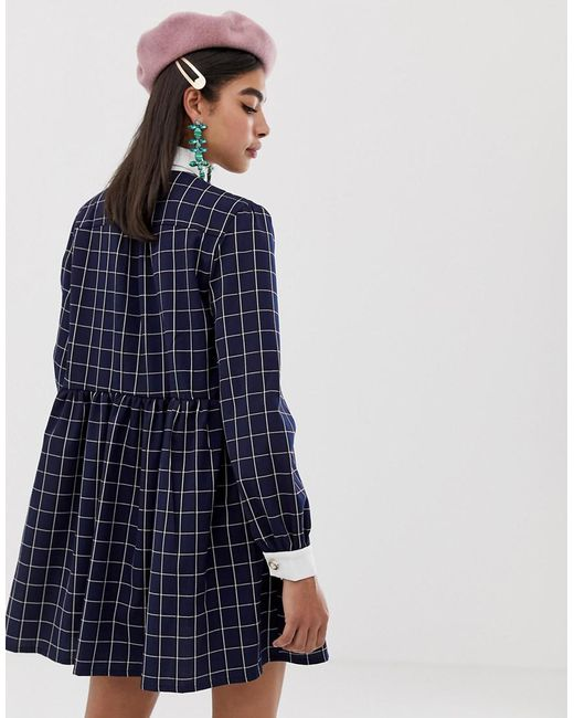 a7ab19e566f ... Sister Jane - Blue Shirt Mini Dress With Pussybow Collar In Grid Check  Print - Lyst