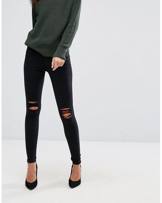 2a94c574b1e Dr. Denim - Black Lexy Mid Rise Second Skin Super Skinny Ripped Knee Jeans  ...
