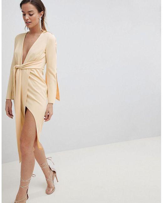 ASOS - Natural Kimono Button Plunge Midi Dress - Lyst