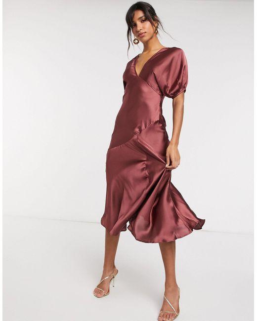 Атласное Чайное Платье С Пышными Рукавами ASOS, цвет: Red