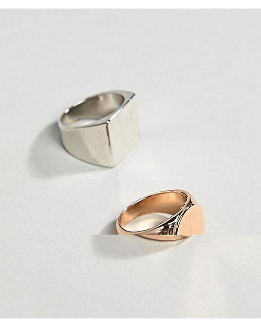 ASOS - Metallic Design Signet Ring Pack In Gold And Silver - Lyst