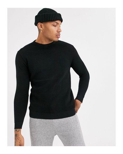 Pull&Bear Black Lightweight Ottoman Sweater for men