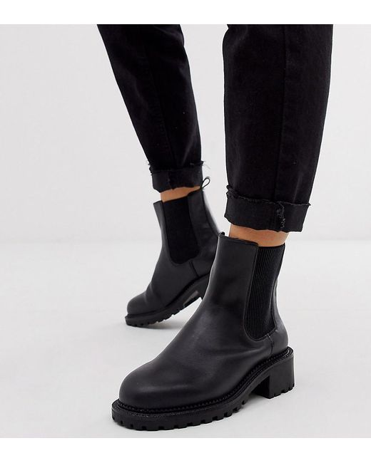 ASOS Wide Fit Action Chunky Chelsea Boots In Black