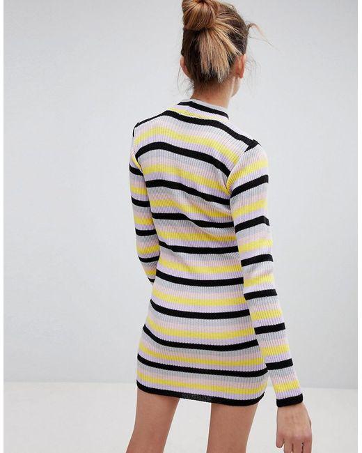 5390b3b61e3 ... Daisy Street - Multicolor High Neck Sweater Dress In Retro Stripe - Lyst