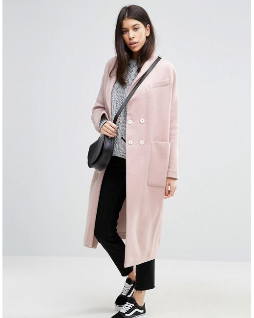 ASOS | Pink Swing Coat In Wool Mix | Lyst