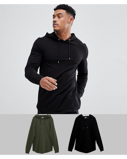 ASOS - Longline Muscle Hoodie 2 Pack With Curved Hem In Black/khaki Save for Men - Lyst