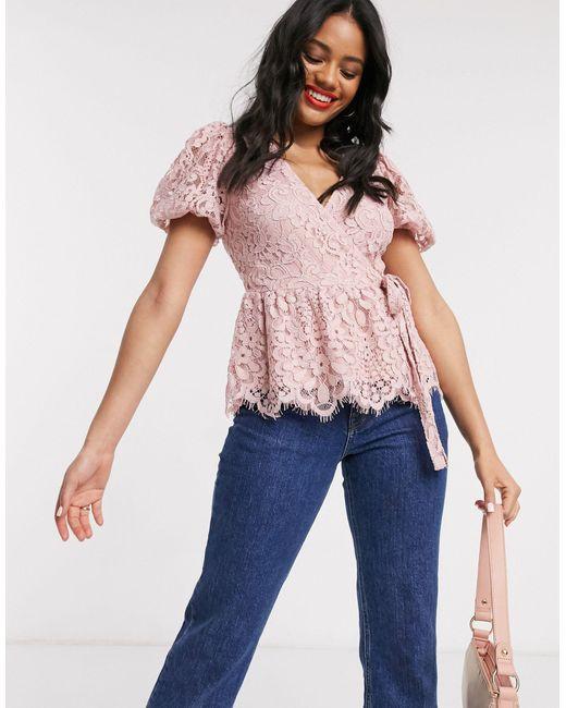 Розовая Кружевная Блузка С Пышными Рукавами И Запахом -розовый Цвет Lipsy, цвет: Pink