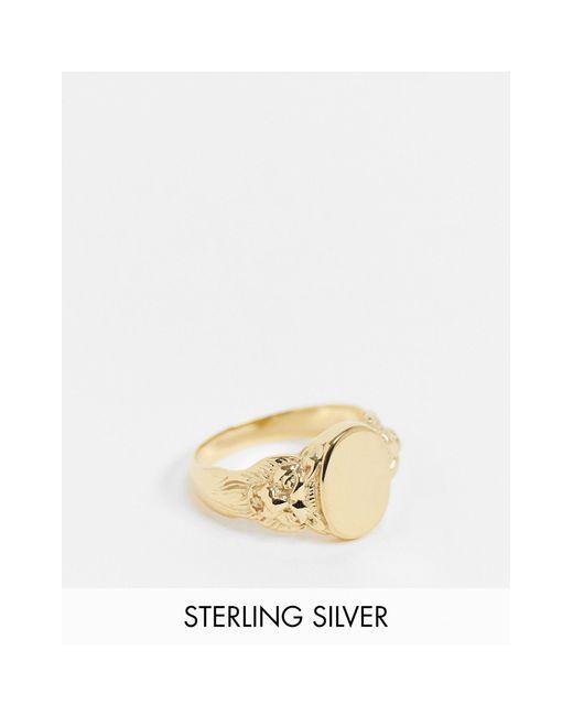 Серебряное Кольцо-печатка С Гравировкой В Виде Льва И Позолотой 14 Карат ASOS для него, цвет: Metallic