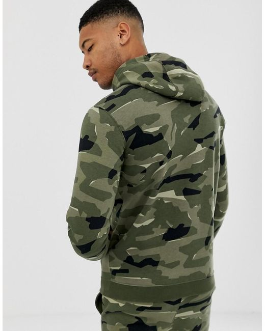 cca740009 Nike Tall Club Camo Hoodie In Green in Green for Men - Lyst