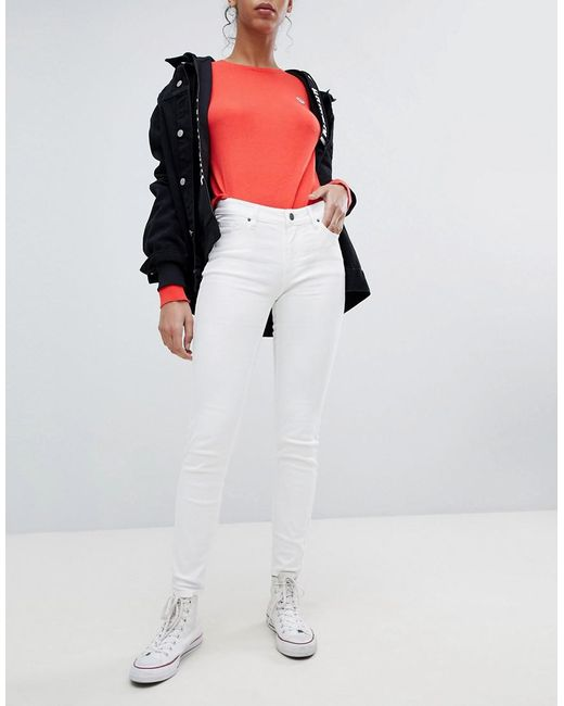 Armani Exchange - White Super Skinny Mid Rise Jeans - Lyst