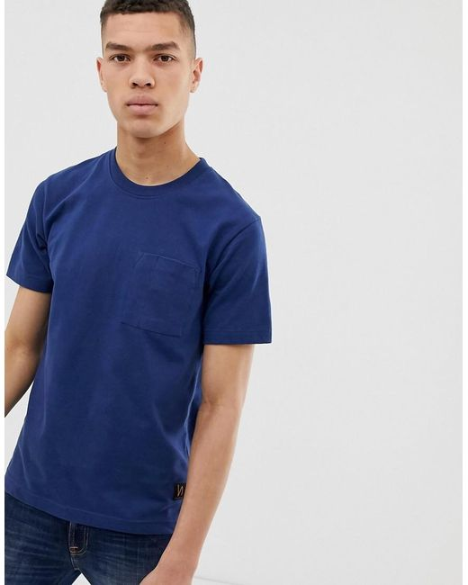 Nudie Jeans Blue Co Kurt Worker T-shirt In Navy for men