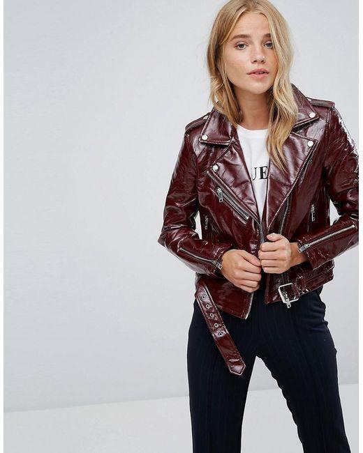 ba2341302c Lyst - Bershka Vinyl Biker Jacket in Red