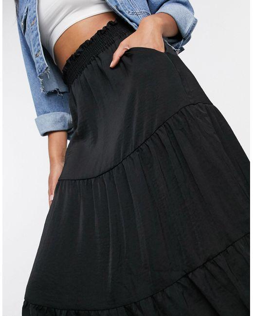 Черная Атласная Юбка Миди Ярусного Кроя -черный Monki, цвет: Black