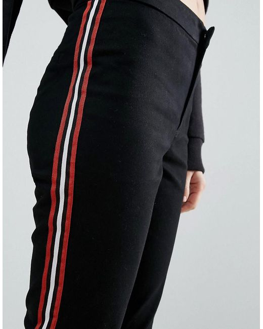 Lyst Asos Cigarette Trousers With Side Stripe In Black