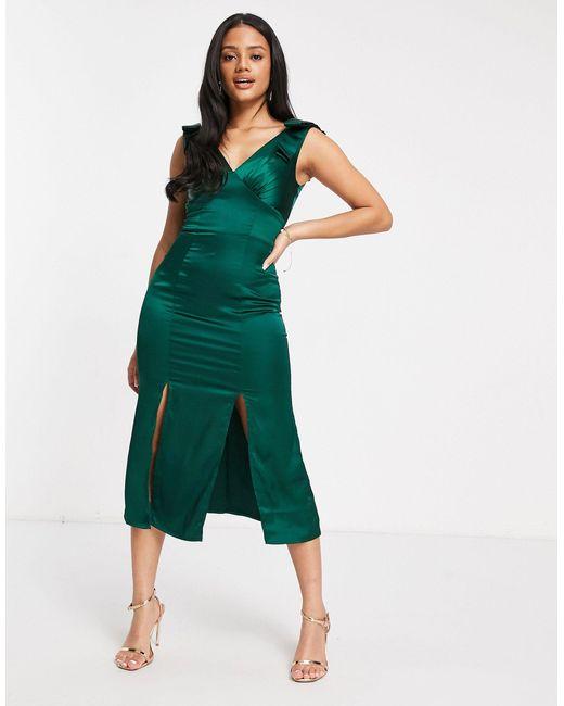 Темно-зеленое Атласное Платье Миди С Бантами На Плечах И Разрезами -зеленый Chi Chi London, цвет: Green